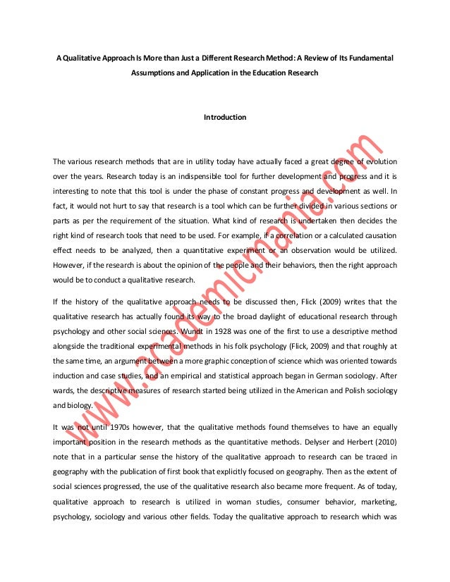 qualitative dissertation proposal education The method chapter in a quantitative dissertation the method  chapter of a  dissertation proposal often contains a statistical analysis or data analysis   example, imagine a study from the field of education in which the.