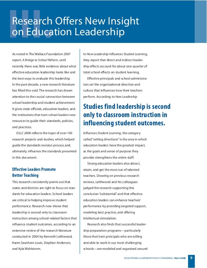 isllc education standards 10062018  this paper represents the most recent set of high-level policy standards for education leadership and provides guidance to state policymakers as they work.