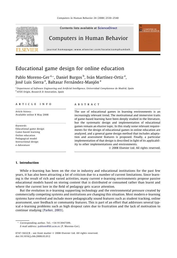 Educational Game Design for Online Education