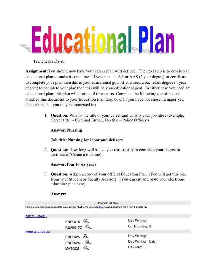 Francheska DavidAssignment:You should now have your career plan well defined. The next step is to develop aneducational pl...
