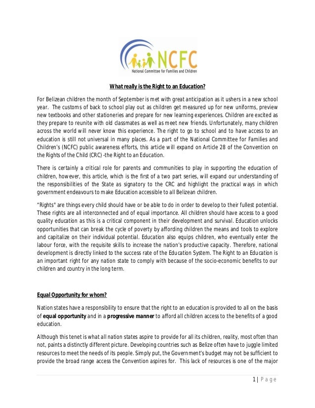 What really is the right to an Education? Part 1- 2013