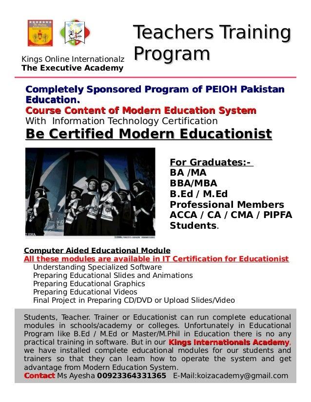 Teachers TrainingTeachers Training ProgramProgram Completely Sponsored Program of PEIOH PakistanCompletely Sponsored Progr...