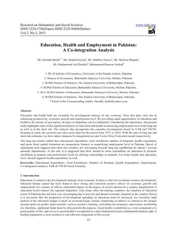 Education, health and employment in pakistan