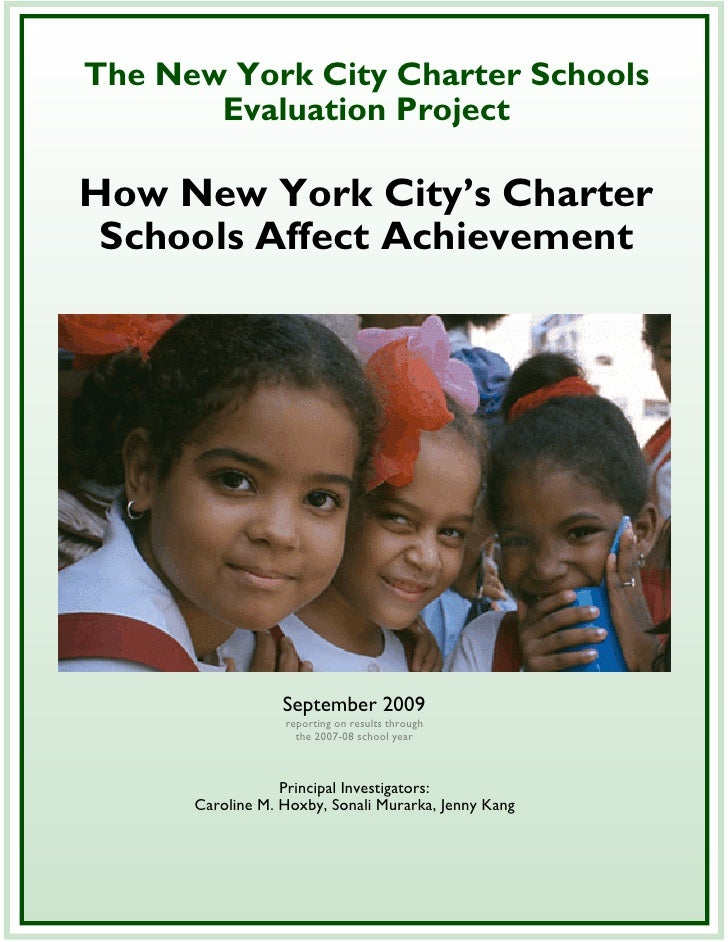 Education, Hoxy Study, How Nyc Charter Schools Affect Achievement Sept2009