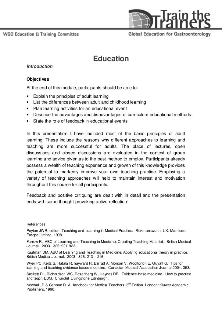 EducationIntroductionObjectivesAt the end of this module, participants should be able to:•   Explain the principles of adu...