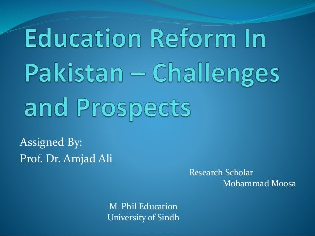 Research proposal on education in pakistan
