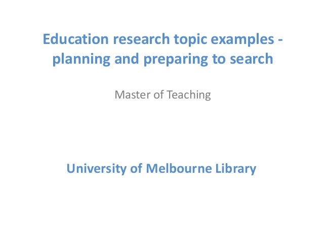 Research Topic on Education?