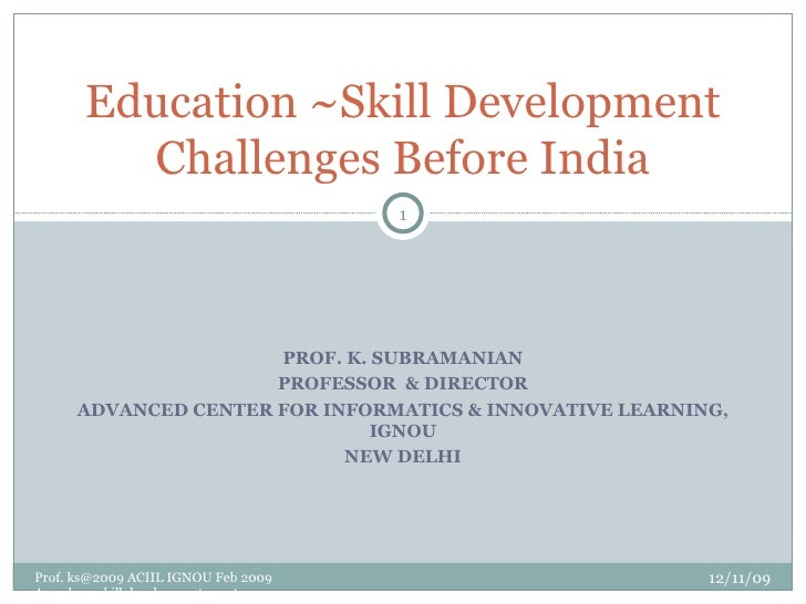 Education ~Skill Development  Assocham Conf Feb 2009