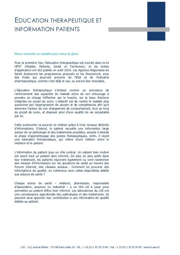 Education therapeutique et_informations_patients