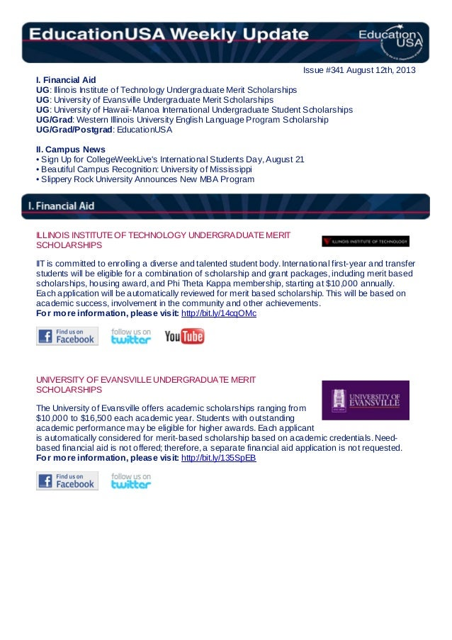 EducationUSA Weekly Update. #341, August 12, 2013