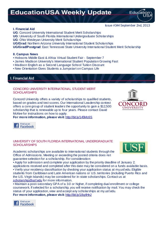EducationUSA Weekly Update, #344, September 2, 2013