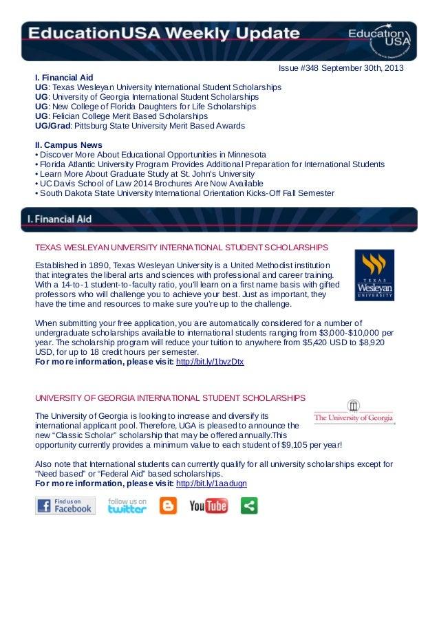 EducationUSA Weekly Update, #348, September 30, 2013