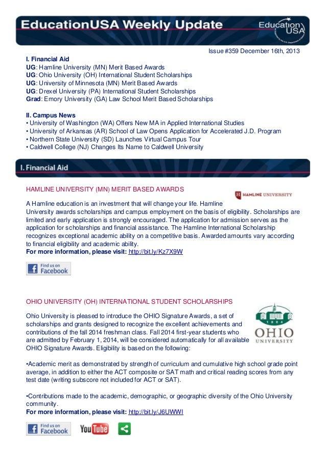 EducationUSA Weekly Update, #359, December 16, 2013