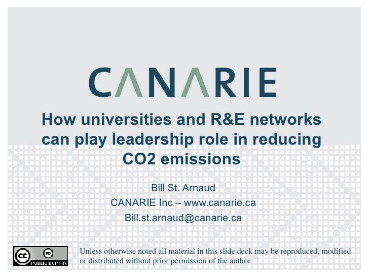 How universities and R&E networks can play leadership role in reducing CO2 emissions Bill St. Arnaud CANARIE Inc – www.can...