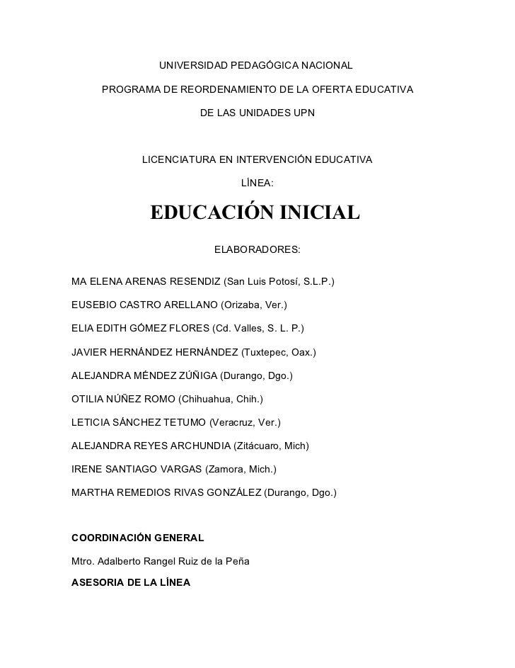 UNIVERSIDAD PEDAGÓGICA NACIONAL      PROGRAMA DE REORDENAMIENTO DE LA OFERTA EDUCATIVA                           DE LAS UN...