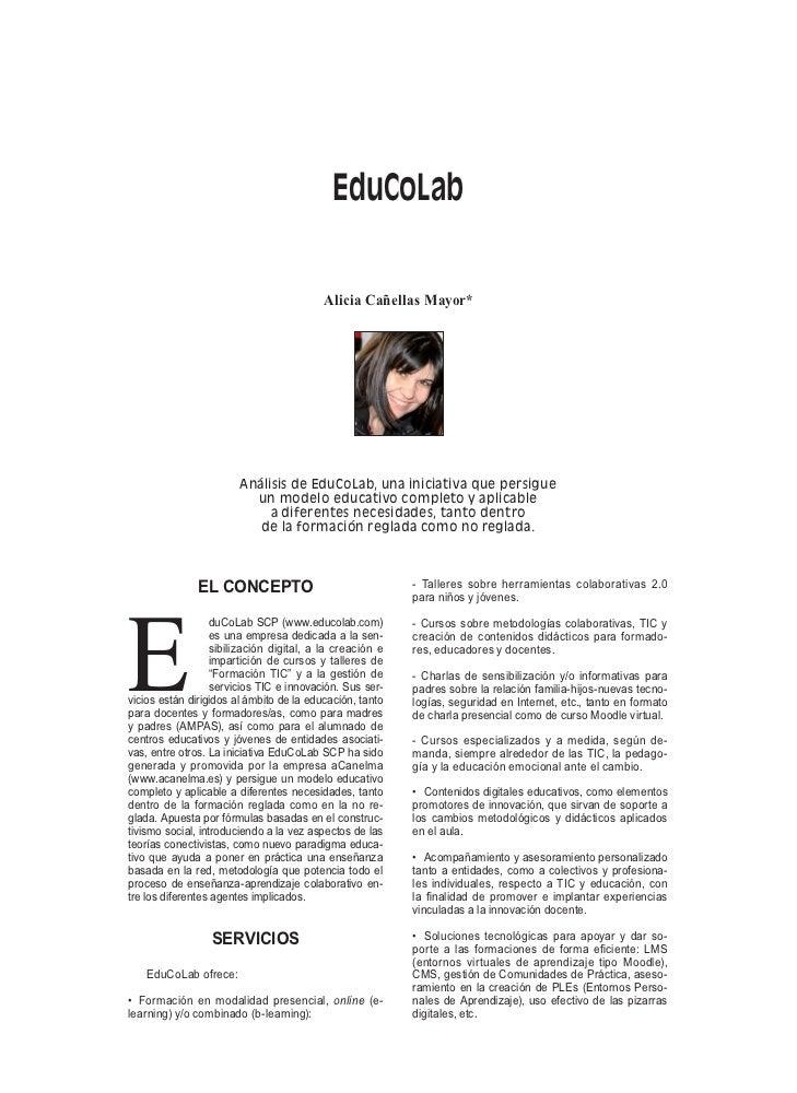 EduCoLab                                          Alicia Cañellas Mayor*                        Análisis de EduCoLab, una ...