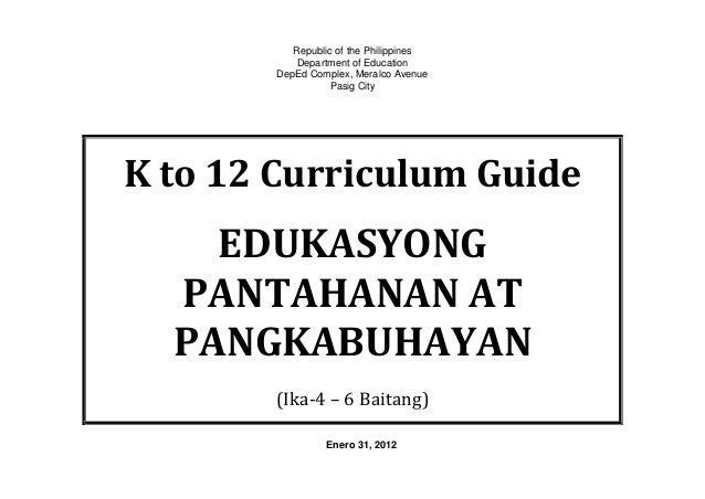 K to 12 Curriculum Guide for Edukasyong Pantahanan at Pangkabuhayan