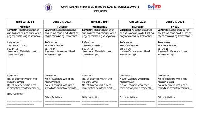 k 12 lesson plan sample