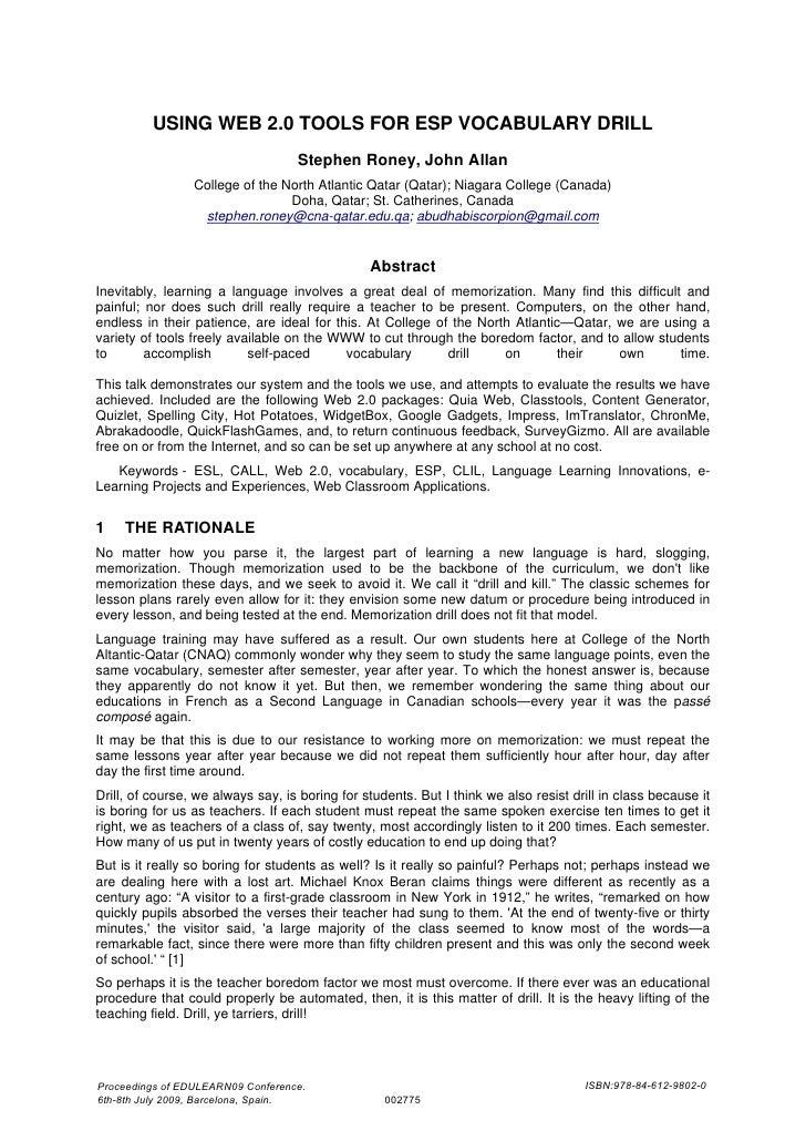 USING WEB 2.0 TOOLS FOR ESP VOCABULARY DRILL                                    Stephen Roney, John Allan                 ...