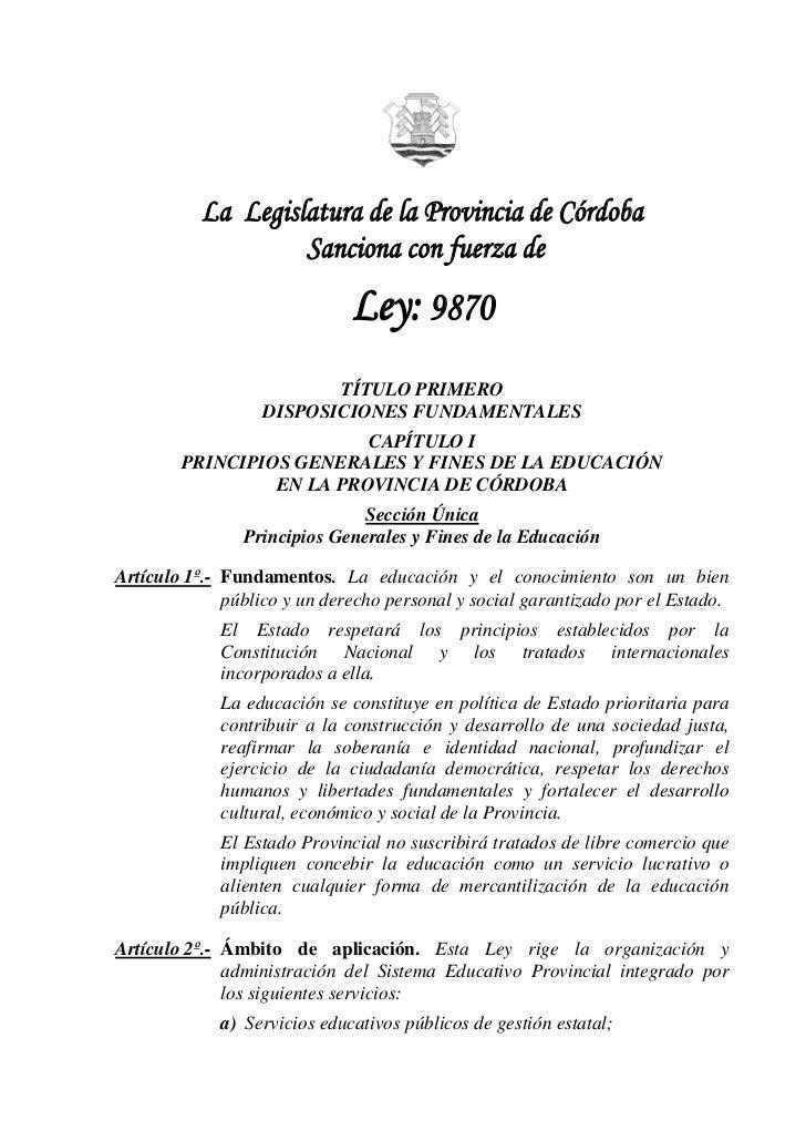 Ley De Educación Provincial N° 9870