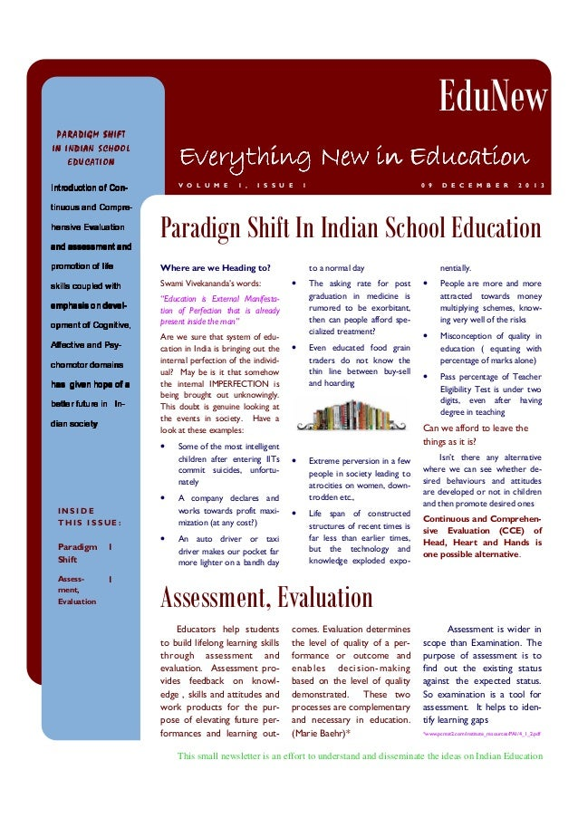 EduNew PARADIGM SHIFT  Everything New in Education  IN INDIAN SCHOOL EDUCATION  V O L U M E  1 ,  I S S U E  1  0 9  D E C...
