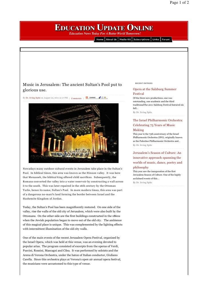 Music in Jerusalem's Sultan Pool