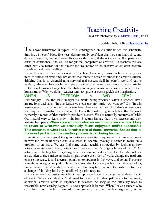 Teaching Creativity.... Text and photography © Marvin Bartel, Ed.D. updated July, 2008 author biography  The above illustr...