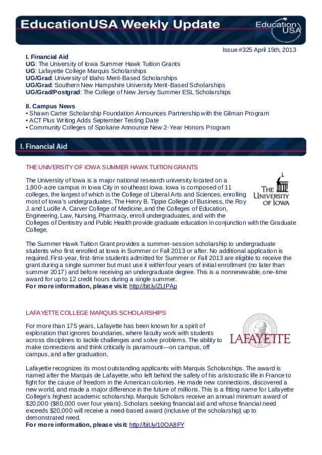 EducationUSA Weekly Update, #325, April 15, 2013