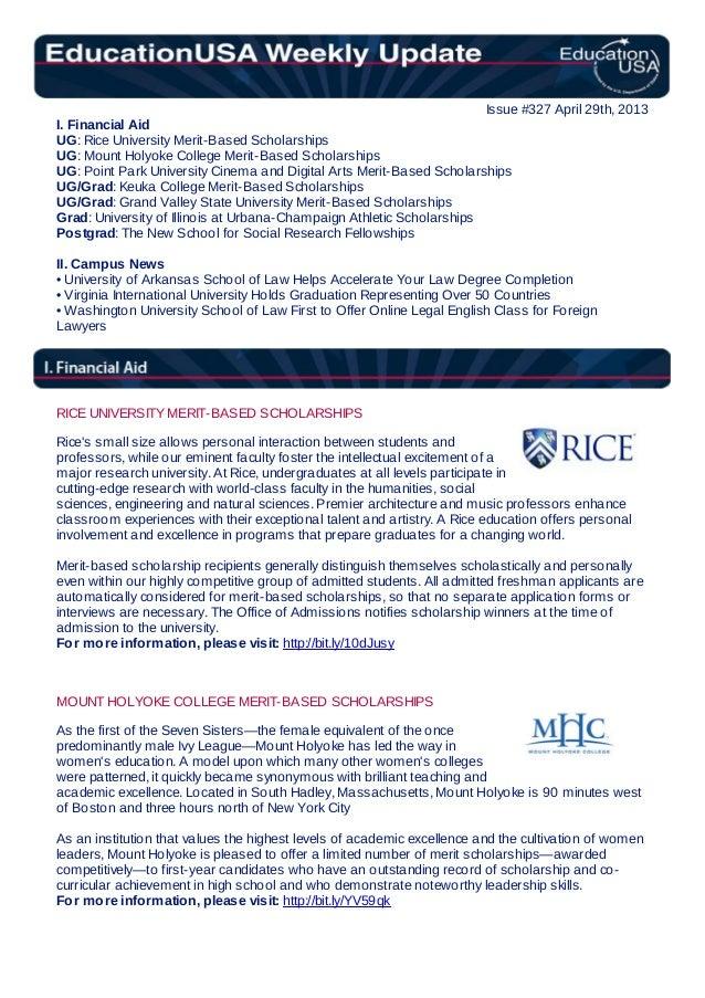 EducationUSA Weekly Update, #327, April 29, 2013