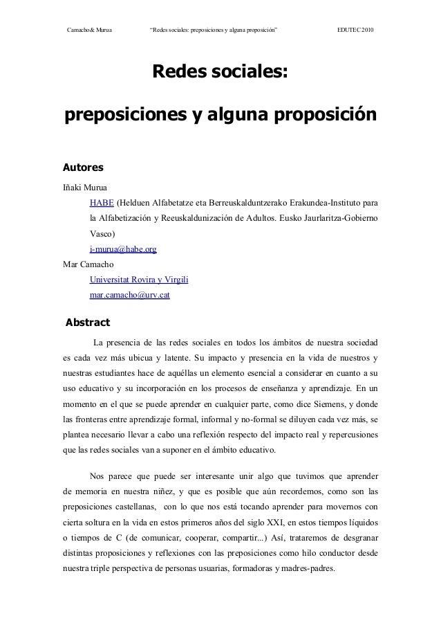 """Camacho& Murua """"Redes sociales: preposiciones y alguna proposición"""" EDUTEC 2010 Redes sociales: preposiciones y alguna pro..."""