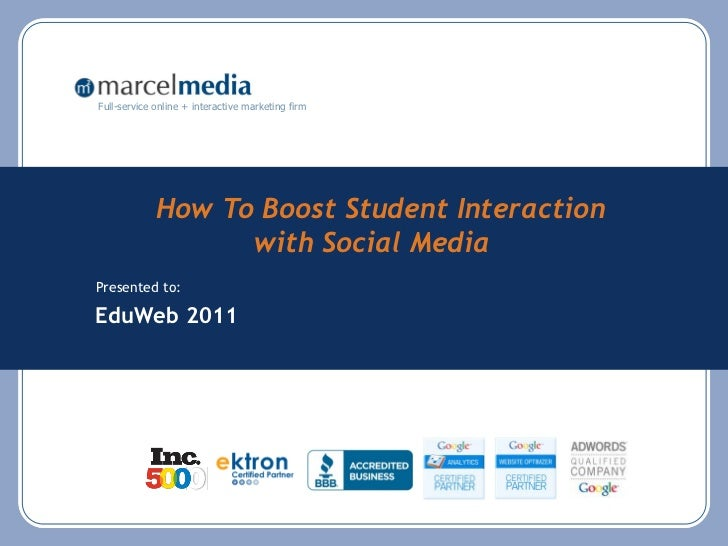 #eduweb preso- how to use social media to increase engagement