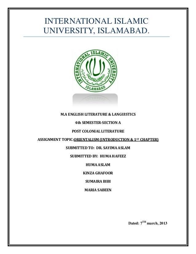 INTERNATIONAL ISLAMIC  UNIVERSITY, ISLAMABAD.          M.A ENGLISH LITERATURE & LANGUISTICS                 4th SEMESTER-S...