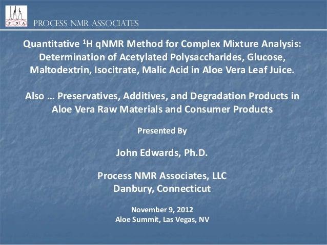 Process NMR Associates  Quantitative 1H qNMR Method for Complex Mixture Analysis: Determination of Acetylated Polysacchari...