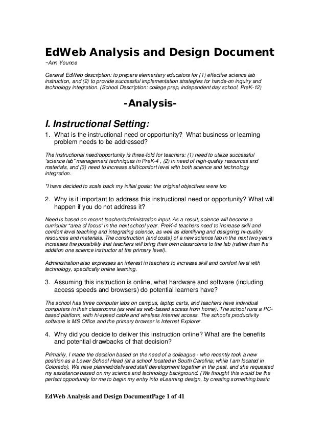 EdWeb Analysis and Design Document ~Ann Younce General EdWeb description: to prepare elementary educators for (1) effectiv...
