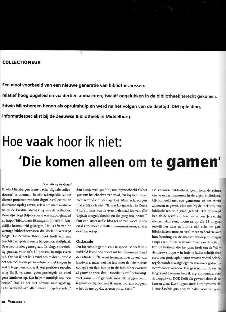Interview Gaming in bibliotheken