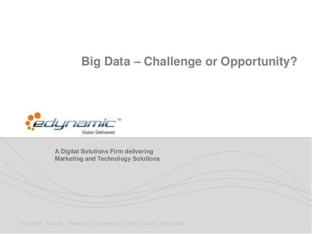 Big Data – Challenge or Opportunity?              A Digital Solutions Firm delivering              Marketing and Technolog...