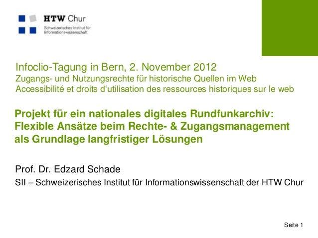 Infoclio-Tagung in Bern, 2. November 2012Zugangs- und Nutzungsrechte für historische Quellen im WebAccessibilité et droits...