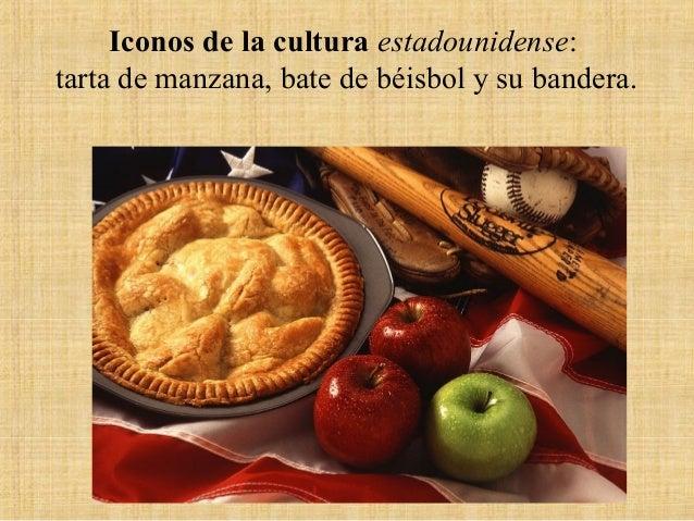 Iconos de la cultura estadounidense: tarta de manzana, bate de béisbol y su bandera.