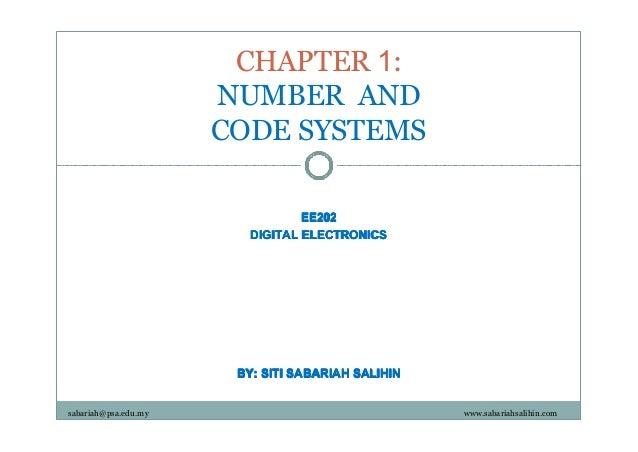CHAPTER 1: NUMBER AND CODE SYSTEMS EE202 DIGITAL ELECTRONICS  BY: SITI SABARIAH SALIHIN sabariah@psa.edu.my  www.sabariahs...