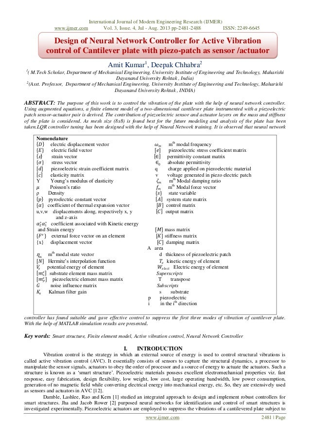 International Journal of Modern Engineering Research (IJMER) www.ijmer.com Vol. 3, Issue. 4, Jul - Aug. 2013 pp-2481-2488 ...