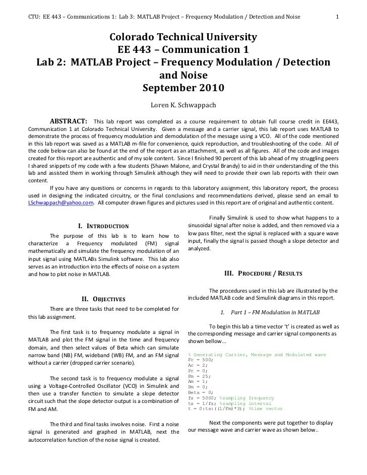 CTU: EE 443 – Communications 1: Lab 3: MATLAB Project – Frequency Modulation / Detection and Noise                        ...