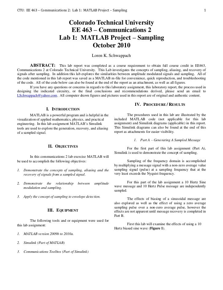 CTU: EE 463 – Communications 2: Lab 1: MATLAB Project – Sampling                                                          ...