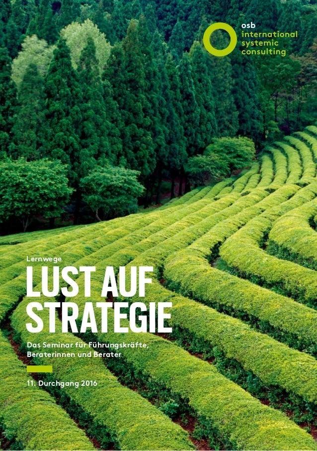 LUSTAUF STRATEGIE Lernwege Das Seminar für Führungskräfte, Beraterinnen und Berater 11. Durchgang 2016