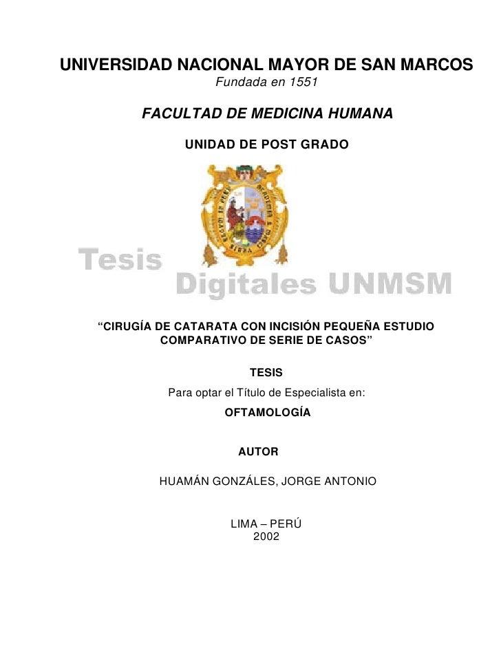 UNIVERSIDAD NACIONAL MAYOR DE SAN MARCOS                       Fundada en 1551           FACULTAD DE MEDICINA HUMANA      ...