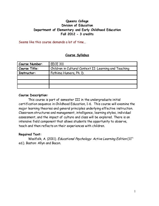 Queens College Division of Education Department of Elementary and Early Childhood Education Fall 2012 - 3 credits Seems li...