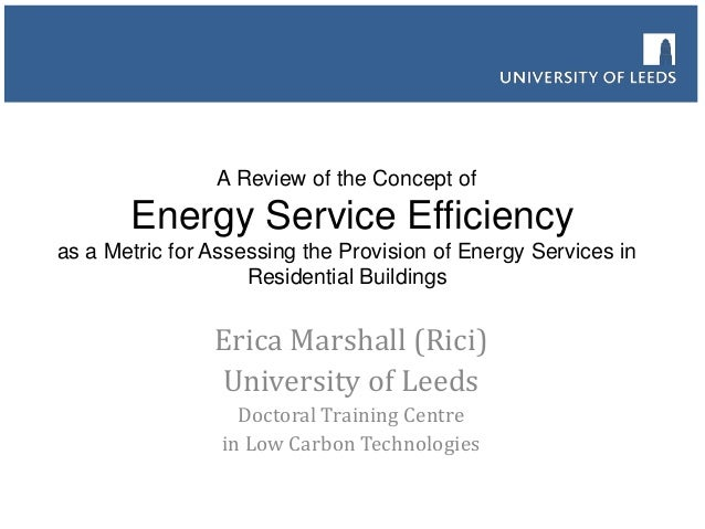 A Review of the Concept of  Energy Service Efficiency as a Metric for Assessing the Provision of Energy Services in Reside...