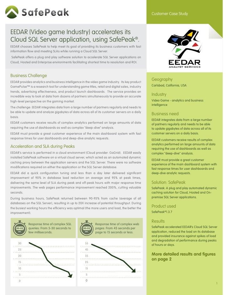 SafePeak cloud case study:EEDAR