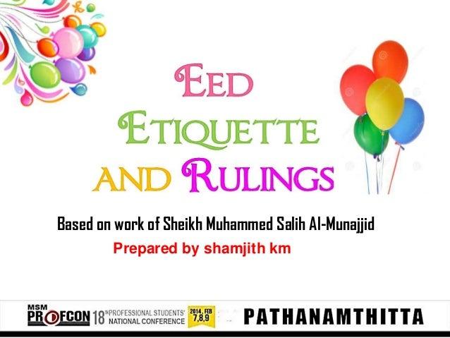 Based on work of Sheikh Muhammed Salih Al-Munajjid Prepared by shamjith km