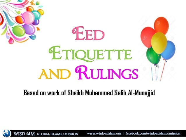 Eed ettiquette and rulings