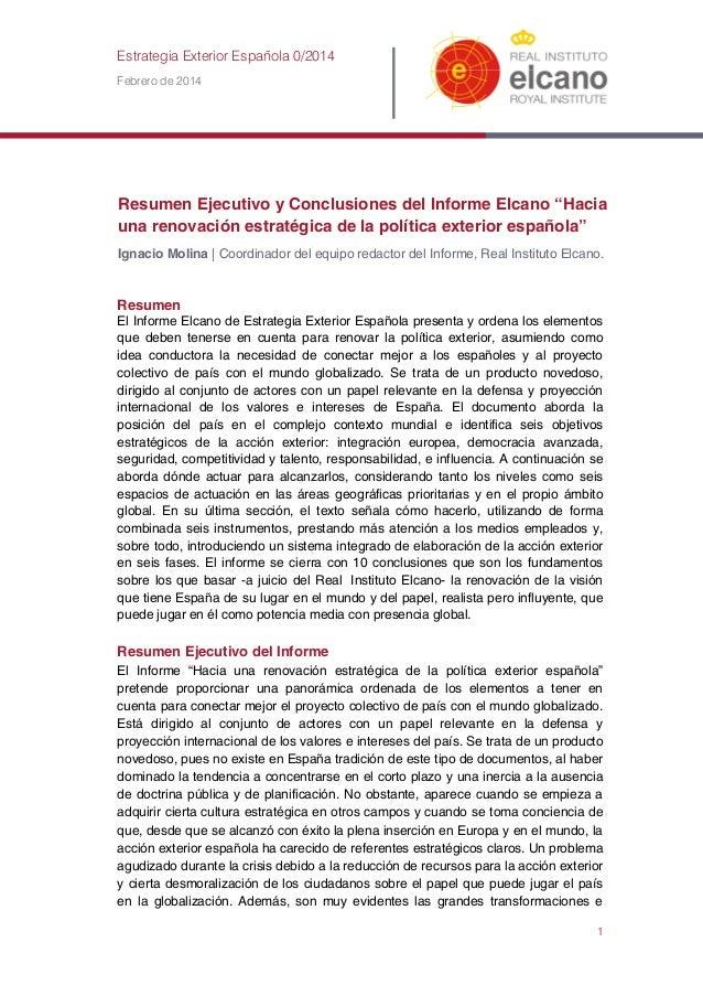 """Resumen Ejecutivo y Conclusiones del Informe Elcano """"Hacia una renovación estratégica de la política exterior española"""""""